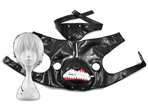 COSPLAZA Black Leather Zipper Cosplay Mask Silver White Wig ( 2pc Pack)