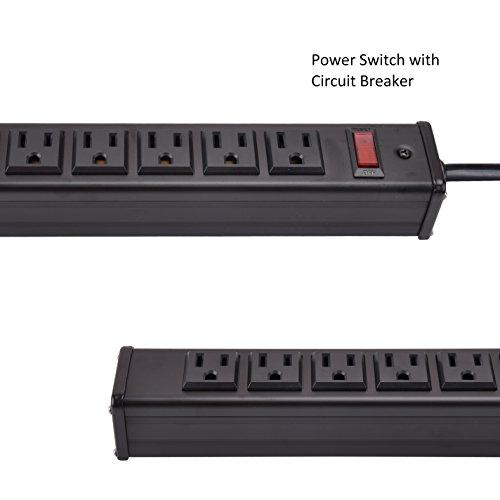 Bestten 24-Outlet Heavy Duty Metal Power Strip with 15-Foot Ultra Long Power Cord, ETL Certified, Black by BESTTEN (Image #3)
