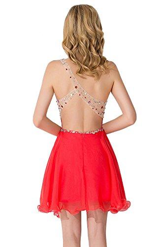 Abiball Tüll Perlstickerei Rückenfrei Ein Rot Schulter Kleider Ballkleid Babyonlinedress Damen Applikationen Kurz BxRz8