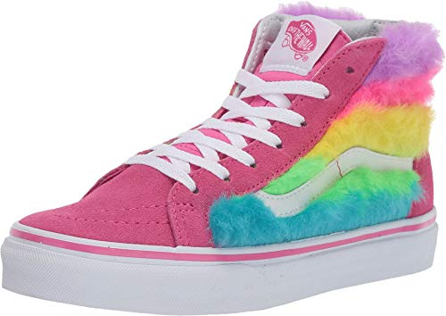 Vans Kids Girl's Sk8-Hi Zip (Little Kid/Big Kid) (Rainbow Fur) Carmine Rose/True White 2.5 M US Little Kid