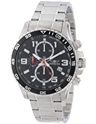 Invicta Mens 14875 Specialty Chronograph Black Textured Dial Stainless Steel Watch