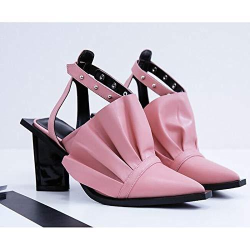 Heterotypic Spring Shoes Heel Sheepskin ZHZNVX Comfort Black Heels Pink Pink Fall amp; Women's TaF88nB