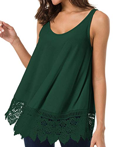 Romanstii Sleeveless Blouse Tank Shirt - Lace Tank Top Casual Solid Workout Tanks Plus Size Swing Top Green XL -
