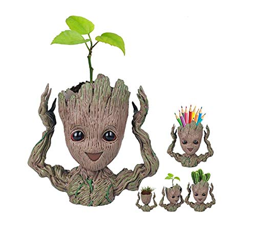Baby Planter - WISE MODEL Baby Groot Planter Treeman Action Figures Guardians of The Galaxy Flower Pot,Creative Star-Lord Pen Holder Desk Organizer Accessories,Best Cute Pencil Pot Gift. (Hands UP)