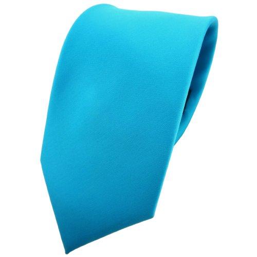 TigerTie cravate en turquoise turquoise bleu de l'eau unicolor - 100% Polyester - Tie