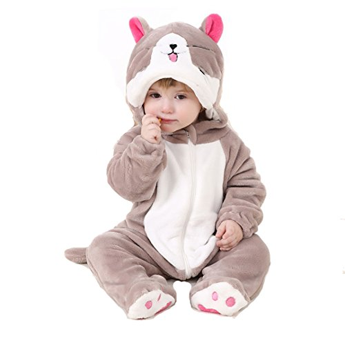 BabyPoem Unisex-baby Flannel Romper Animal Onesie Pajamas Outfits Suit Sweet Cat 80cm
