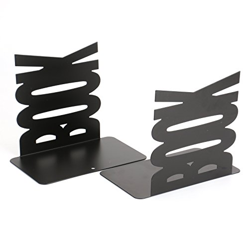 Fasmov Book Bookends Nonskid Art Bookends,1 Pair(Black)