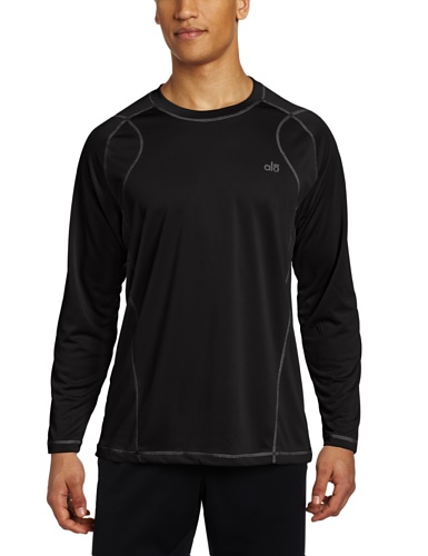 Alo Mens Bamboo - Alo Yoga Men's Tranquility Long Sleeve T-Shirt, Black, Small