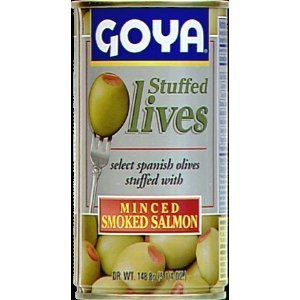 Goya Manzanilla Olives Stuffed with Salmon 5.25 Oz (Pack of 6)