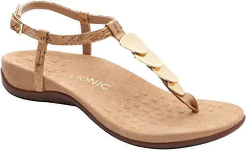 Vionic Womens Miami T-Strap Sandal Gold Cork Size 6 - Miami Hot Women