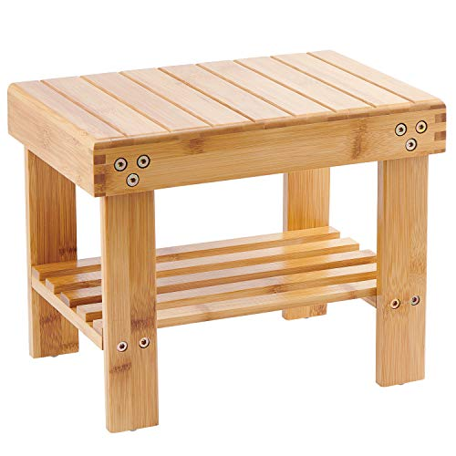 Bamboo Small Seat Stool for Kids, Foot Rest Shaving Stool,Storage Shelf, Durable Lightweight and Anti Slip (For Wooden Small Bathroom Stool)