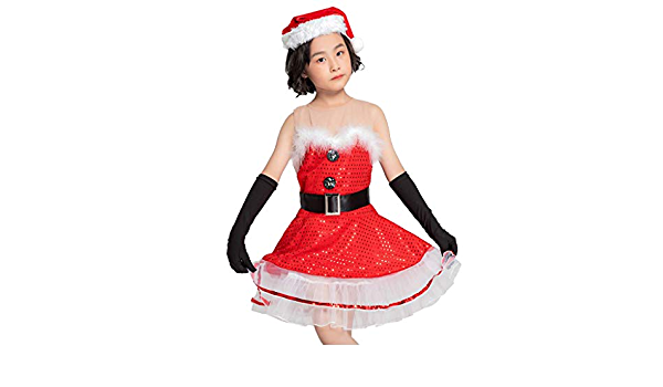 Amazon Com Shan S Kids Toddler Girls Christmas Cosplay Miss Santa Costume Dresses Xmas Holiday Praty Dress Skirt Gloves Belt Hat Suit Outfit Clothes Sports Outdoors