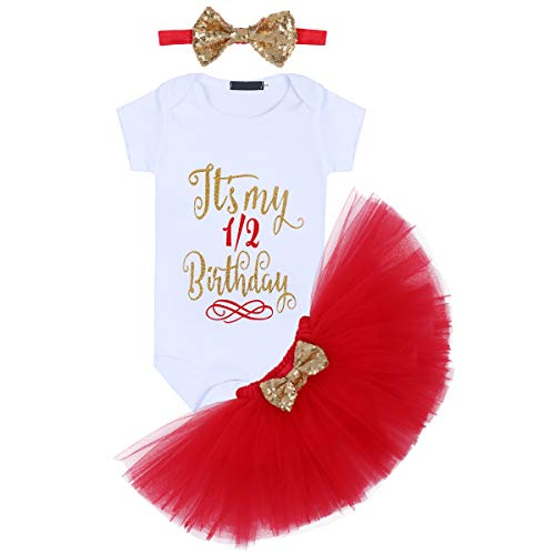 (It's My 1/2 / 1st / 2nd Birthday Outfit Baby Girls Romper + Ruffle Tulle Skirt + Sequins Bow Headband Cake Smash Party Dress Easter Valentine's Day Photo Shoot Costume)