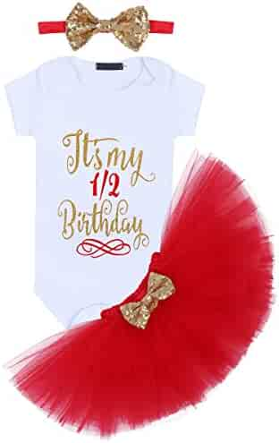 a198a7d72c98f Baby Girls Birthday Outfit Romper+Ruffle Tulle Skirt+Sequins Bow Headband  Valentine's Cake Smash