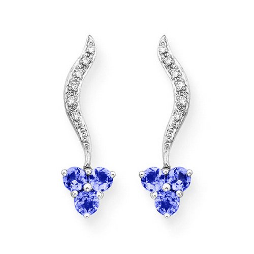 14K White Gold 0.05 ct. Diamond and 1/2 ct. Tanzanite Earrings (Pave Tanzanite Earrings)