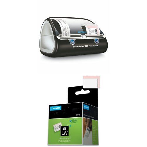 DYMO Label Writer 450 Twin Turbo label printer, 71 Labels Per Minute, Black/Silver (1752266) and DYMO LW USPS Postage Stamp Labels for LabelWriter Label Printers,  White, 1-5/8'' x 1-1/4'', 1 roll of 200 (30915) Bundle (Office File Software Dymo)