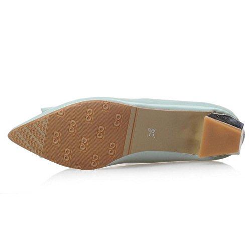 TAOFFEN Women's Slip On Court Shoes Block Heel Light Green-02 19k6xa