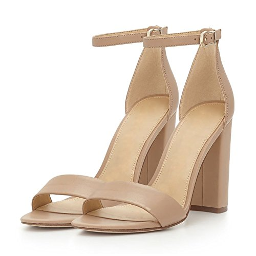Womens Fashion Ankle Strap High Block Heeled Sandals Open Toe for Party Dress Nude Pu fbe56A