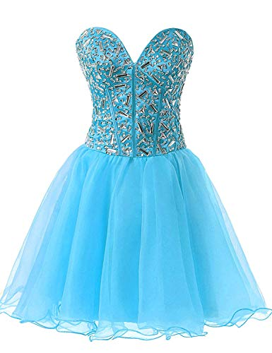 Sarahbridal Juniors Crystal Beaded Homecoming Cocktial Dress Short Strapless Sweetheart Party Prom Gowns Sky Blue US2