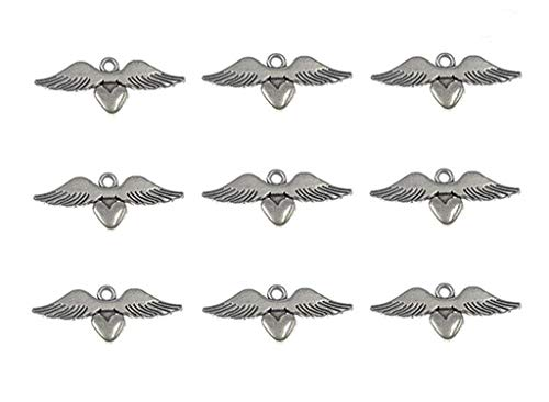 30pcs Loving Heart Angel Wing punk Charms Pendants for DIY Jewelry Making Accessories(Antique Silver) By Alimitopia