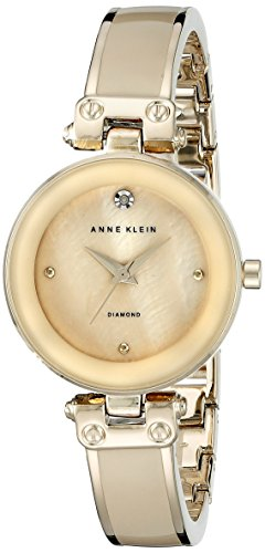 Anne Klein Women's AK/1980TMGB Diamond-Accented Dial Tan and Gold-Tone Bangle Watch