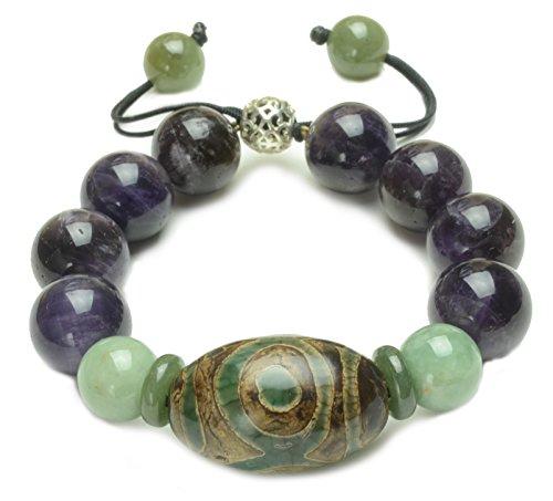 Elegant Dark Amethyst 3 Eyes Tibetan Dzi Protective Amulet Bracelet - Fortune Feng Shui ()