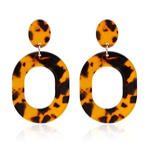 (YAHPERN Acrylic Earrings for Women Girls Statement Geometric Earrings Resin Acetate Drop Dangle Earrings Mottled Hoop Earrings Fashion Jewelry (Tortoiseshell))