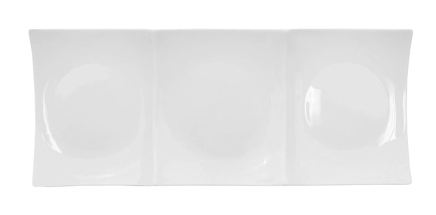 Box of 12 CAC China F-P21 Fortune 12-Inch by 1-1//4-Inch Super White Porcelain Square Plate with 4 Square Compartment
