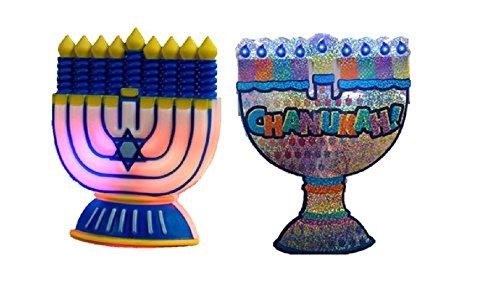 Hanukkah Window Decorations - Set of 2 LED Menorahs
