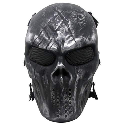 [Black Friday Deal] Thiroom Full Face Tactical Airsoft Paintball Cosplay Mask with Metal Mesh Eye Protection M06 Iron Mask for Airsoft/BB Gun/CS etc