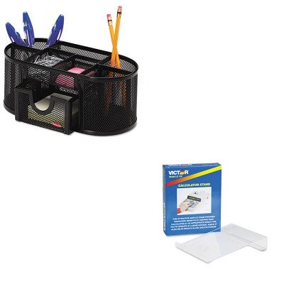 KITROL1746466VCTLS125 - Value Kit - Victor Large Angled Acrylic Calculator Stand (VCTLS125) and Rolodex Mesh Pencil Cup Organizer (ROL1746466)