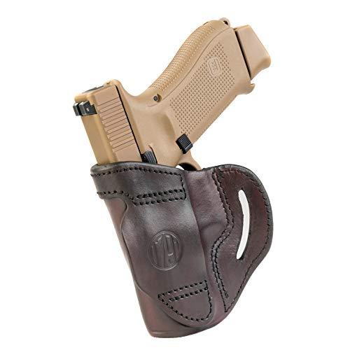 1791 GUNLEATHER Glock OWB Holster - Right Handed Belt Slide Leather Gun Holster for Colt Defender, Glock 19, Ruger SR22, SW Shield, MP40, MP9, Sig P225, Springfield XDS, Walther P22 Taurus G2 - Brown
