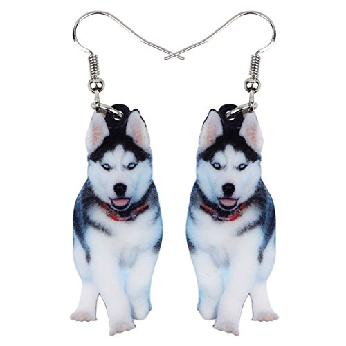 NEWEI Acrylic Drop Dangle Sweet Siberian Husky Dog Earrings Fashion Jewelry For Women Girl Gift Charms