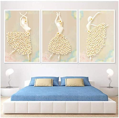 Bailarines de ballet cuadros sin marco simples decorativos triples pinturas en aerosol pintadas sobre lienzo 50x70cm Sin marco