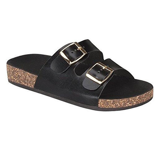 Fashion-shoes Womens Casual Buckle Strap Slide On Sandals Black bCKtT