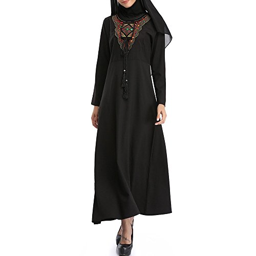 Overmal dress Overmal Muslim Women Islamic Embroidery Pure Color Plus Size Middle East Long Dress by OVERMAL Dress