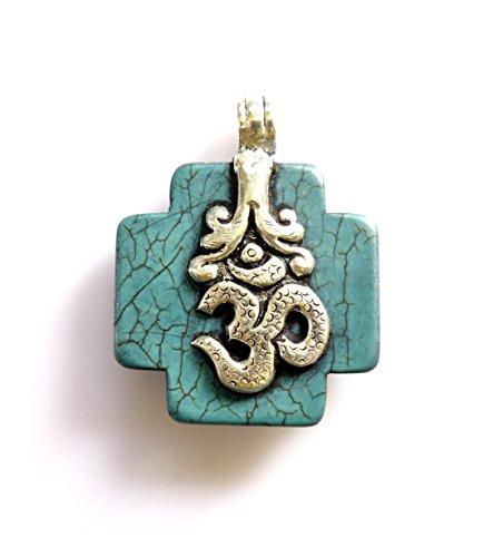 Reversible Turquoise Cross (Tibetan Silver OM CROSS PENDANT TURQUOISE GEMSTONE REVERSIBLE PENDANT HEALING AMULET BOHO PENDANT UNISEX PENDANT BIRD ENGRAVING DESIGN PENDANT)