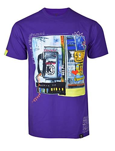 SCREENSHOTBRAND-S11924 Mens Hip-Hop Ultra Premium Tee Urban Streetwear Graffiti Print T-Shirt-Purple-Large (La La La La La Hip Hop)