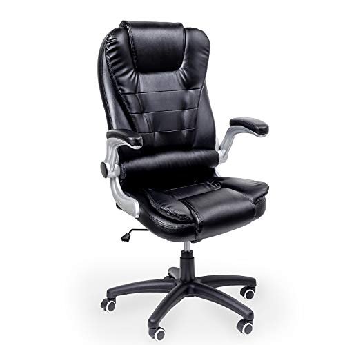 Display4top Ergonomic High-Back PU Office Swivel Chair,Adjustable Tilt Angle and Flip-up Arms Executive Computer Desk Chair,Large Seat,Black