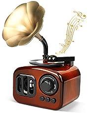 Gramophone Music Box LINGSFIRE Vintage Music Box Mini Phonograph Shaped Clockwork Music Box Vintage Home Decor Antique Music Box for Christmas/Birthday/Valentine's Day, Brown