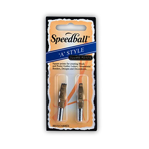Speedball Lettering & Drawing Pen Nibs with Triple Reservoir Design, Square Tip, A0 & A1, Pack of 2 (031001) (The Crow Triple Feature)