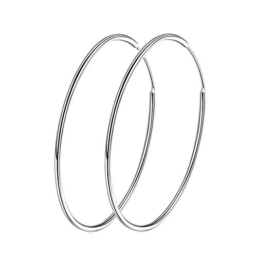 Sterling Silver 925 Large Hoop Earrings Circle Endless Basketball Huggie Round Earring (60mm) ()