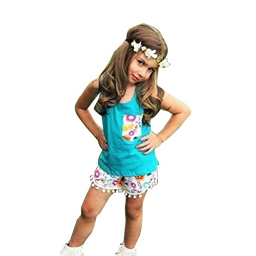 2PCS Set Toraway Toddler Baby Kids Girls Outfit Clothes Bow Vest Tops+ Tassel Shorts Set (4T, Blue) (Show Girl Outfits)
