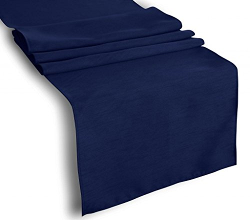 Creative 13x 36 Classic Solid Faux Silk Table Runner - Navy