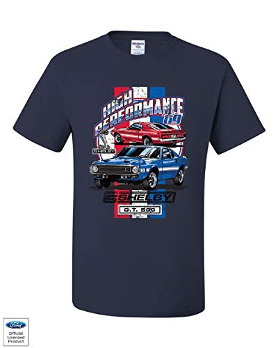 High Performance 1969 Shelby GT500 T-Shirt Ford Mustang Cobra Tee Shirt Navy Blue M (1967 Shelby Gt500 Eleanor Super Snake For Sale)