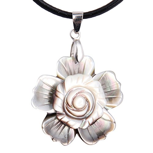 (Luckeyui Womens Natural Shell White Flower Pendant Necklace Popular Paua Shell Jewelry Gift)