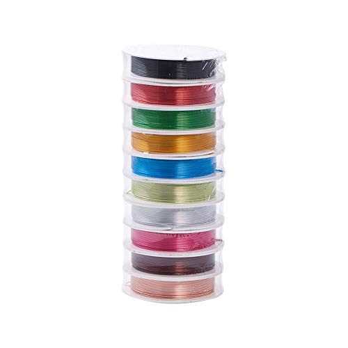 PandaHall 10 Rolls Aluminum Craft Wire 20 Guage Flexible Artistic Floral Colored Jewely Beading Wire for DIY Jewelry Craft Making Each Roll 16 Feet ()