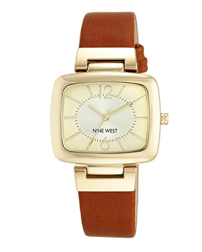 Nine West Women's NW/1840CHHY Gold-Tone and Brown Strap Watch ()