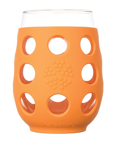 Lifefactory 11-Ounce BPA-Free Indoor and Outdoor Wine Glass 2-Pack with Protective Silicone Sleeve, - Glasses With Orange