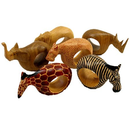 Mahogany Wood Animal Napkin Rings - Set of Six by Gifts With Humanity (Image #1)